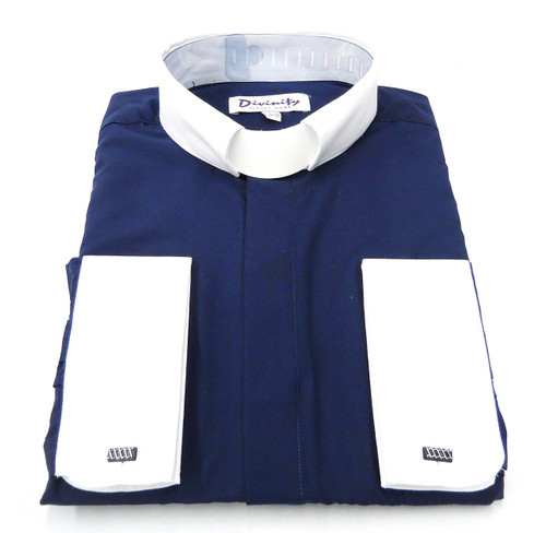 Hidden Button French Cuff Clergy Shirt In Navy