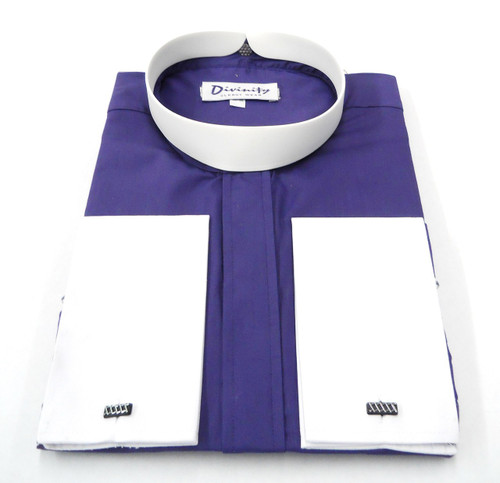Bishop Collar Clergy Shirt In Purple