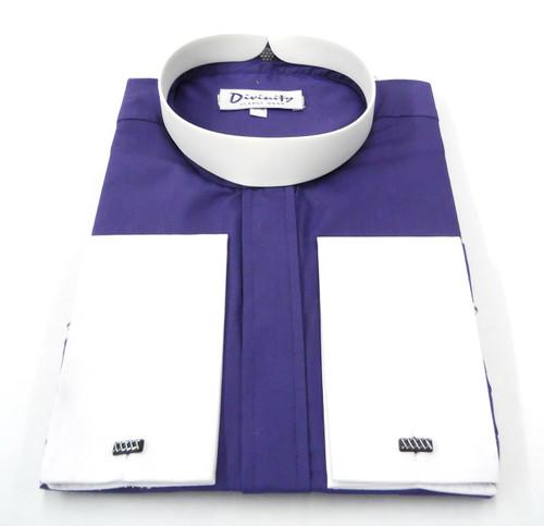 Bishop Collar Clergy Shirt In Purple