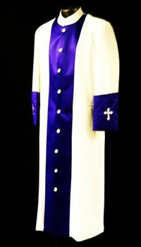 123. Men's Clergy Robe in Ivory and Purple