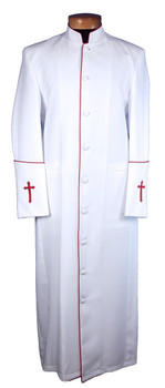 107. Men's Clergy Robe in White and Red Trim