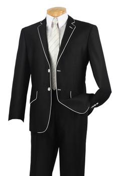 2-Button Designer Shark Skin Slim Fit Suit By Vinci S2PN-1