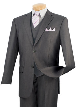 Single Breasted 2-Button Solid Suit by Vinci V2TR
