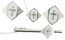 4-Piece cufflink set in silver