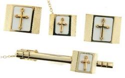 4-Piece cufflink set in gold