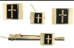 4-Piece Cufflink Set In Gold & Black - 05B