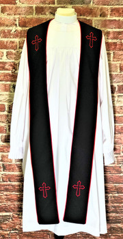 001. Trinity Clergy Stole in Black & Red