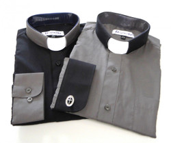 Charcoal & Black Two Tone Affordable Tab Collar Clergy Shirt