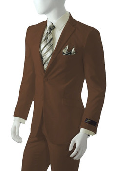 2-Button Solid Suit In Brown