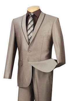 2-Button Trimmed-Lapel Suit In Beige