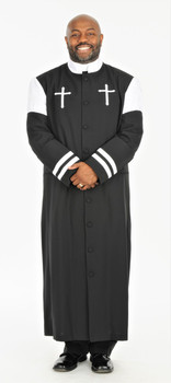 001.  Hoshea Clergy Robe For Men In Black & White