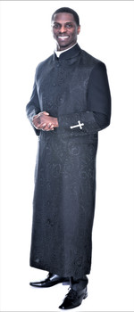 001.  Gershon Clergy Robe For Men In Black