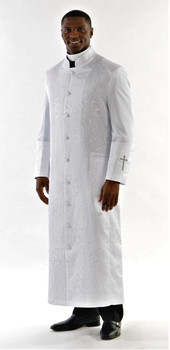 001.  Gershon Clergy Robe For Men In White