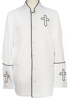 Trinity Clergy Jacket In White & Black