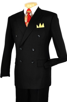 6 x 2 Button Solid Double Breasted Suit In Black