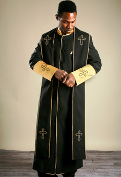 004.  Men's Clergy Robe & Stole Set in Black and Gold