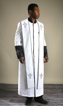 004.  Men's Clergy Robe & Stole Set in White & Black