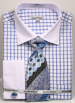 DS3789P2: Designer Dress Shirt, Tie, Handekerchief, & Cufflink Set - (3) Colors Available