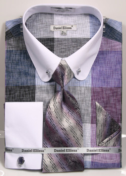 01. DS3791P: Designer Dress Shirt, Tie, Handekerchief, & Cufflink Set - (2) Colors Available