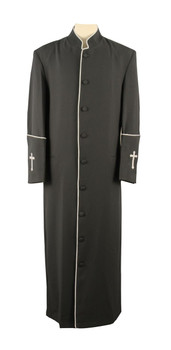 001. Men's Preacher Clergy Robe in Charcoal & White