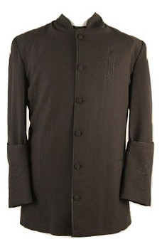 001. Trinity Clergy Jacket For Men In Black On Black