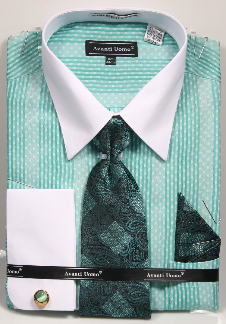 Dn78m Dress Shirt Tie Set With Cufflinks 5 Colors Available