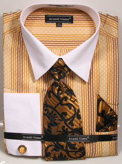 01. DN78M: Designer Dress Shirt, Tie, Handekerchief, & Cufflink Set - 5 Colors Available