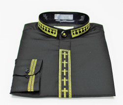 101. Banded Collar Embroidered Shirt In Black & Gold
