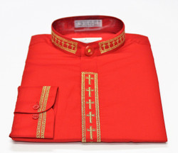 101. Banded Collar Embroidered Shirt In Red & Gold