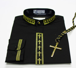 101. Banded Collar Embroidered Shirt With Cross & Cord