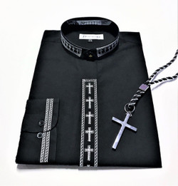 101. Banded Embroidered Shirt In Black & White With Silver Cross & Black/Silver Cord