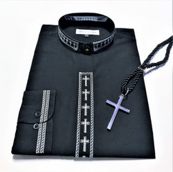 101. Banded Embroidered Shirt In Black & White With Silver Cross & Black Cord