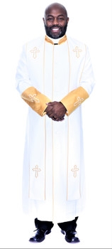004.  Men's Asbury Clergy Robe & Stole Set In White & Gold