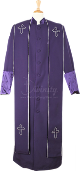 004.  Men's Asbury Clergy Robe & Stole Set In Purple & White