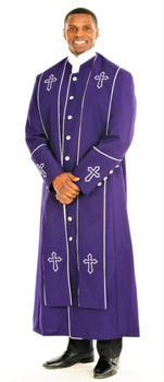 004.  Men's Trinity Clergy Robe & Stole Set In Purple & White