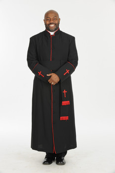 005. Men's Preacher Clergy Robe & Cincture Set in Black & Red