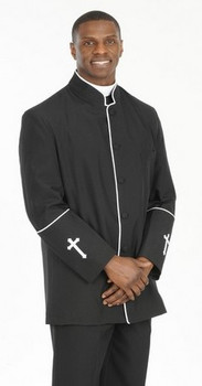 002. Men's 2-Piece Preacher Clergy Suit in Black & White