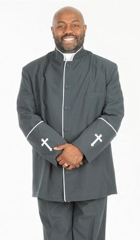002. Men's 2-Piece Preacher Clergy Suit in Charcoal & White