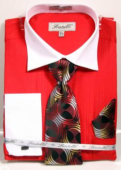 1794588f0fa8 FRV4140: Designer Dress Shirt, Tie, Handekerchief, & Cufflink Set -
