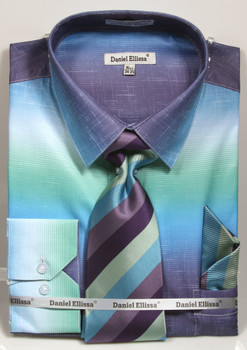 01. DS3795P: Designer Dress Shirt, Tie, Handekerchief, & Cufflink Set - (6) Colors Available