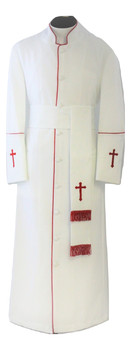 005. Men's Preacher Clergy Robe & Cincture Set in White & Red