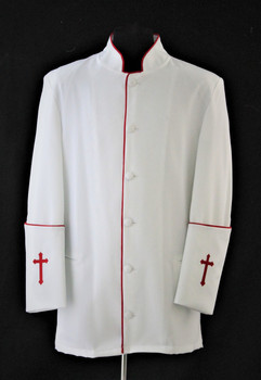 001. Men's Preacher Clergy Jacket in Whte & Red