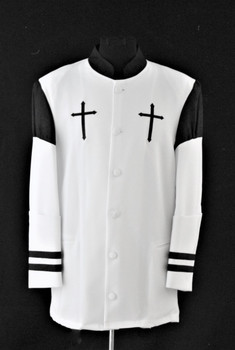 001.  Hoshea Clergy Jacket In White & Black