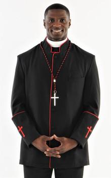 001. Men's Preacher Clergy Jacket in Black & Red