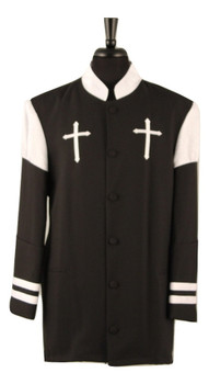 001.  Hoshea Clergy Jacket In Black & White