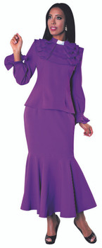 01. Ladies 2-Piece Preaching Skirt Set In Purple