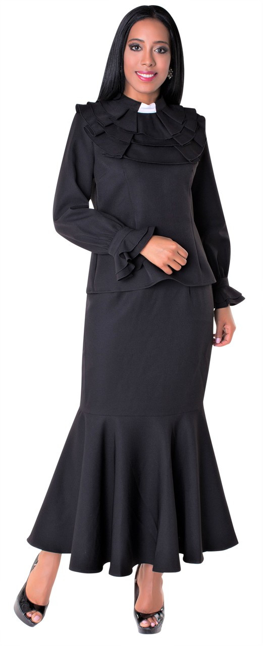 f5b01a89333 01. Ladies 2-Piece Preaching Skirt Set In Black - Divinity Clergy Wear