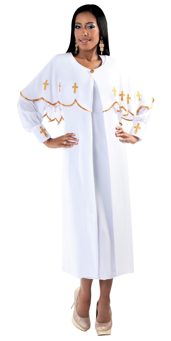 c13a14bffa9 Ladies 3-Piece Preaching Dress With Detachable Cape In White   Gold - Divinity  Clergy Wear
