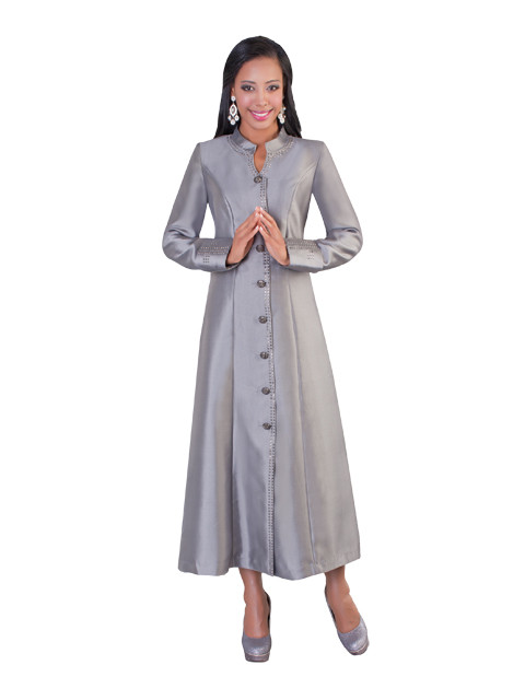 3fa351d88f6 07. Ladies 1-Piece Preaching Robe Dress In Silver - Divinity Clergy Wear