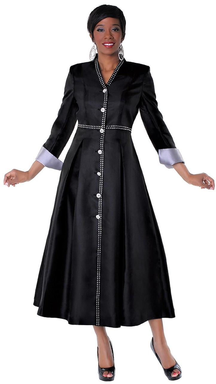2cd3ae972bf Ladies 1-Piece Preaching Dress In Black   Silver - Divinity Clergy Wear